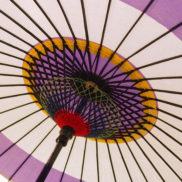 紙傘 尺5 蛇の目柄 紫 飾り黄紙