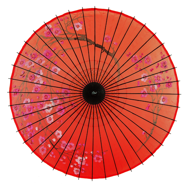 絹傘 桜絵 赤