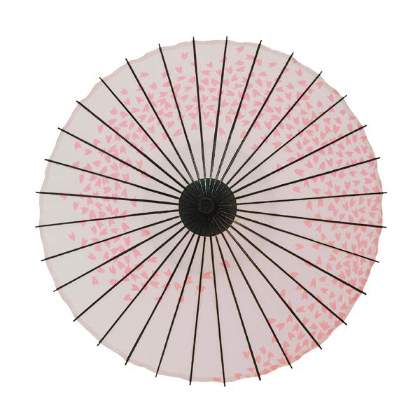 子ども用和傘 桜渦 白地ピンク