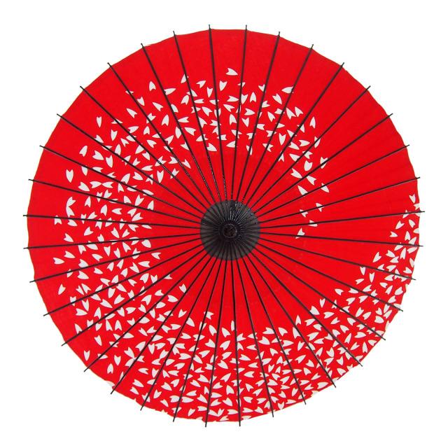 布傘 桜渦 朱色