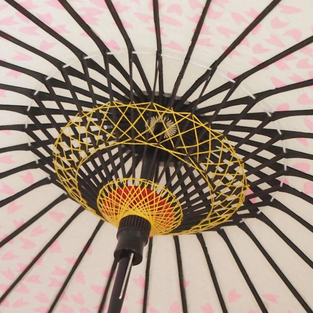 こども用和傘 桜渦 白地ピンク3