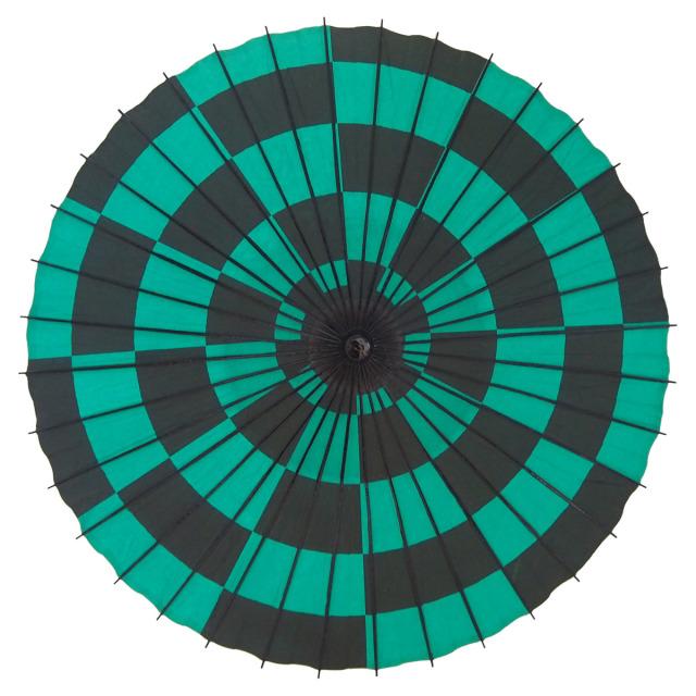 紙傘 尺4 市松 緑