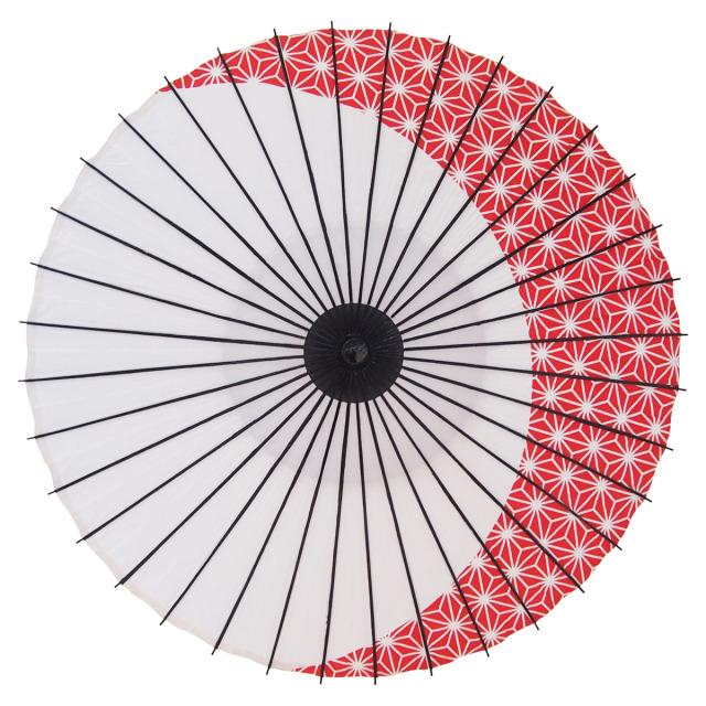 紙傘 尺4 麻月 朱色