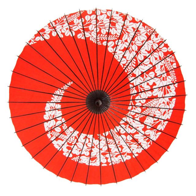 紙傘 尺5 萩渦 朱色