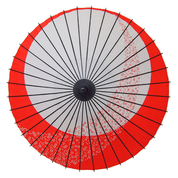 紙舞日傘 月やっこ桜流し エンジ
