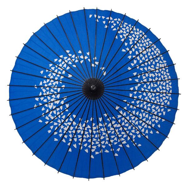 紙舞日傘 桜渦 水色