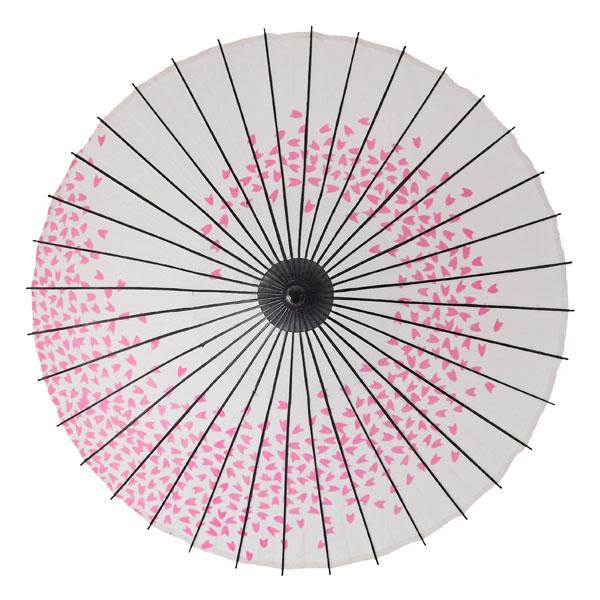 紙舞日傘 桜渦 白地ピンク