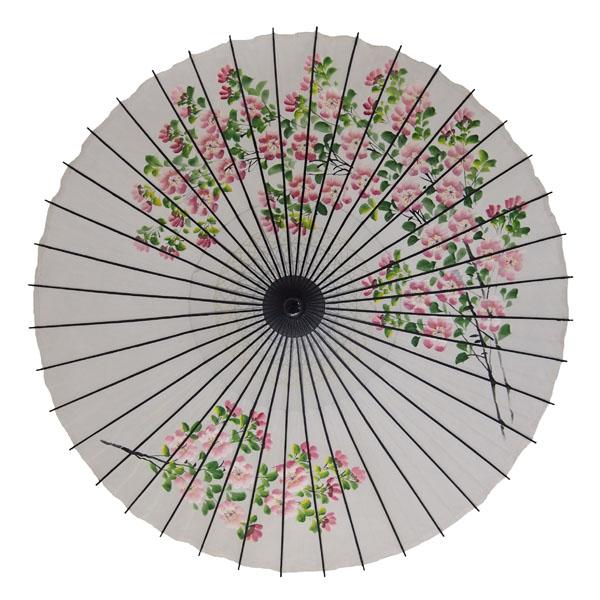 絹舞傘 桜絵 白