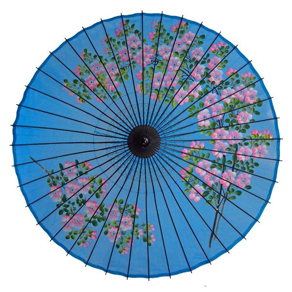 絹舞傘 桜絵 水色