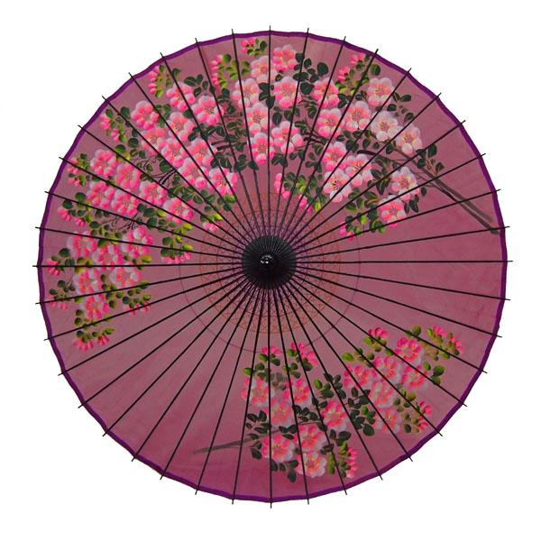 絹舞傘 桜絵 赤紫