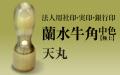 蘭水牛角・中色(極上) 天丸■法人用社印・実印・銀行印■ 手彫り仕上げ・12書体から(15mm・16.5mm・18mm)