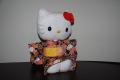 ハローキティ/和風キティ/Hello Kitty/【桜22】キティぬいぐるみ(座)紺
