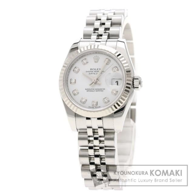 8a8bdcfd9a ROLEX ロレックス 179174G デイトジャスト 10Pダイヤモンド 腕時計 OH済 ステンレススチール/ホワイトゴールド レディース