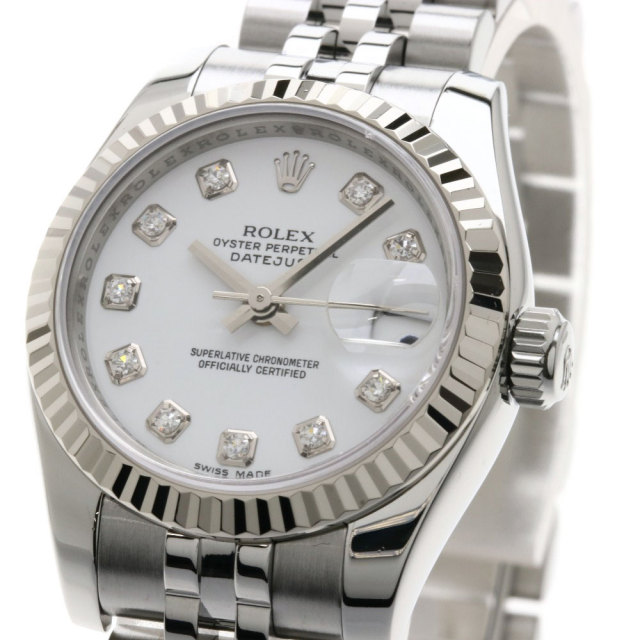 huge discount b1ff9 85f38 ROLEX ロレックス 179174G デイトジャスト 10Pダイヤモンド 腕時計 OH済 ステンレススチール/ホワイトゴールド レディース