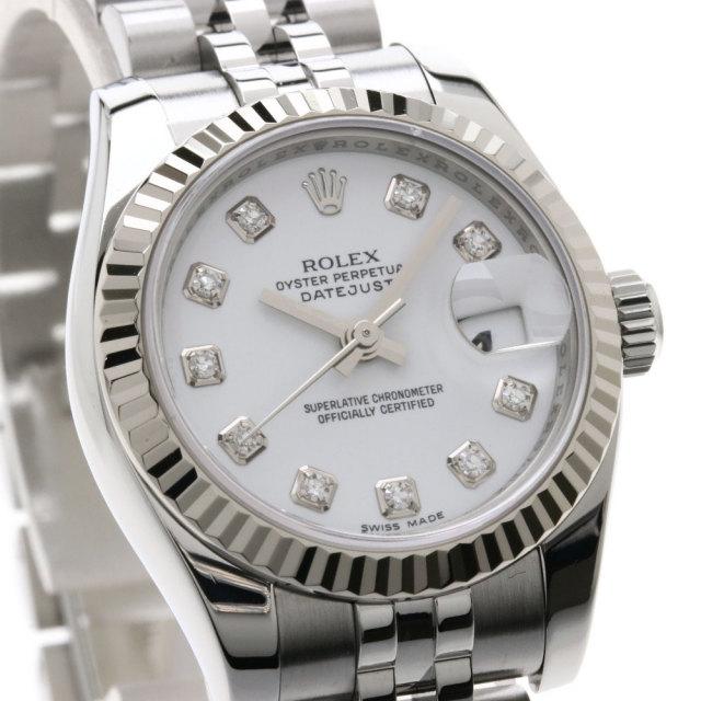 huge discount febbc ea52b ROLEX ロレックス 179174G デイトジャスト 10Pダイヤモンド 腕時計 OH済 ステンレススチール/ホワイトゴールド レディース