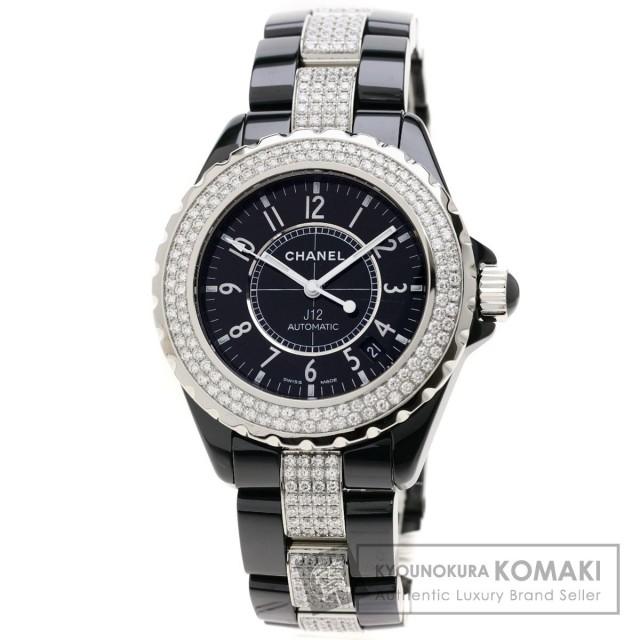 e7f1ce6c0205 CHANEL シャネル H1339 J12 38 ダイヤモンドベゼル 腕時計 OH済 セラミック/セラミックxSS/ダイヤモンド メンズ