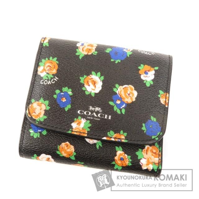 9de88ab23264 COACH コーチ F57976 フラワーモチーフ 二つ折り財布(小銭入れあり) PVC レディース
