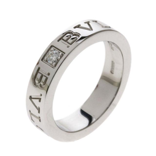 c1e00df75d24 BVLGARI ブルガリ ダブルロゴリング 1Pダイヤモンド リング・指輪 K18ホワイトゴールド レディース