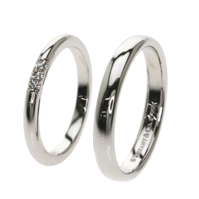 sale retailer 1f2ef 4a522 TIFFANY&Co. ティファニー ペアリング ダイヤモンド 2セット リング・指輪 プラチナPT950 ユニセックス
