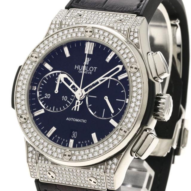 new concept d16ac 97d13 HUBLOT ウブロ 521.NX.1171.LR.1704 クラシックフュージョン 腕時計 OH済 チタン/アリゲーターラバー/ダイヤモンド メンズ