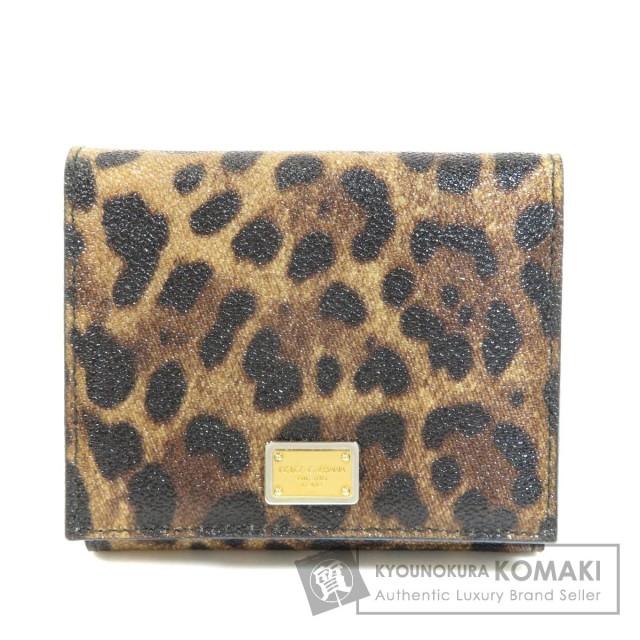 more photos 8f911 3b184 Dolce&Gabbana ドルチェアンドガッバーナ ロゴプレート レオパード柄 二つ折り財布(小銭入れあり) PVC レディース