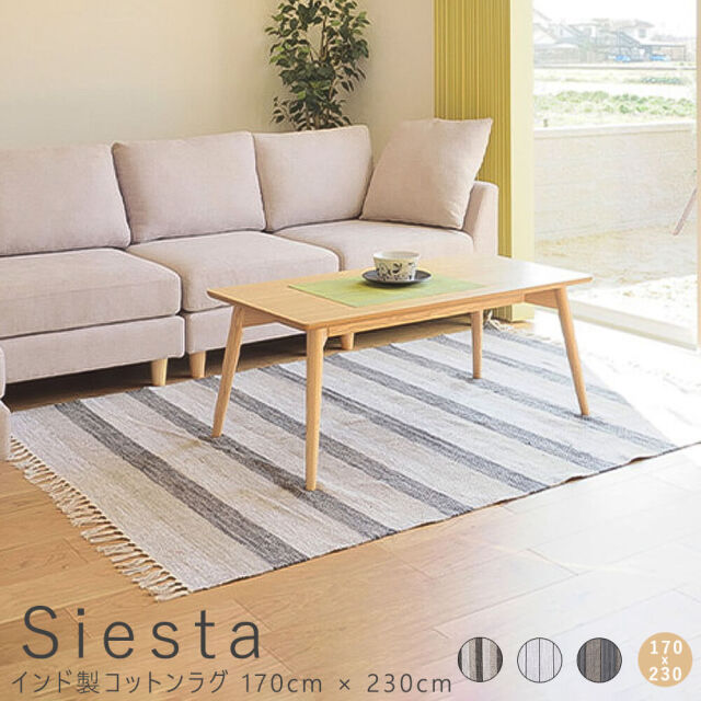 Siesta(シエスタ)インド製コットンラグ 170cm × 230cm