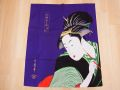 【日本のおみやげ】日本の和風のれん【キセル/紫】【浮世絵シリーズ】※上部に棒を通す輪があります。