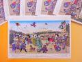【日本のおみやげ】ポストカード【元旦之図/木版レプリカ】(バラ単品)透明OPP袋入り