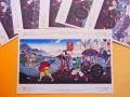【日本のおみやげ】ポストカード【日本一の桃太郎/木版レプリカ】(バラ単品)透明OPP袋入り