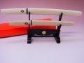 【日本のおみやげ】◆日本刀・模造刀【白鞘ペーパーナイフ大小掛台付セット】