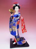 【日本のおみやげ】◆日本人形【青着物・扇子】