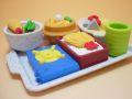 【日本のおみやげ】◆おもしろ消しゴム【お食事】ブリスターパックプラスチック製トレイ付