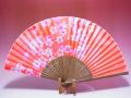 【日本のおみやげ】◆絹扇子【桜】(オレンジ)「掛扇別売り」