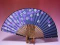 【日本のおみやげ】◆絹扇子【桜】(黒)「掛扇別売り」