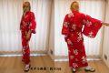 【日本のおみやげ】◆外国人向け浴衣【福寿・赤】女性用(S~LL)