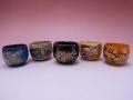 【日本のお土産】◆平安絵巻丸型ぐい吞5客セット【日本美陶】