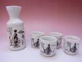 【日本のお土産】◆白刷毛舞妓4客酒器セット【日本美陶】