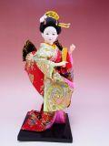 【日本のおみやげ】◆日本人形【扇子】小9インチ
