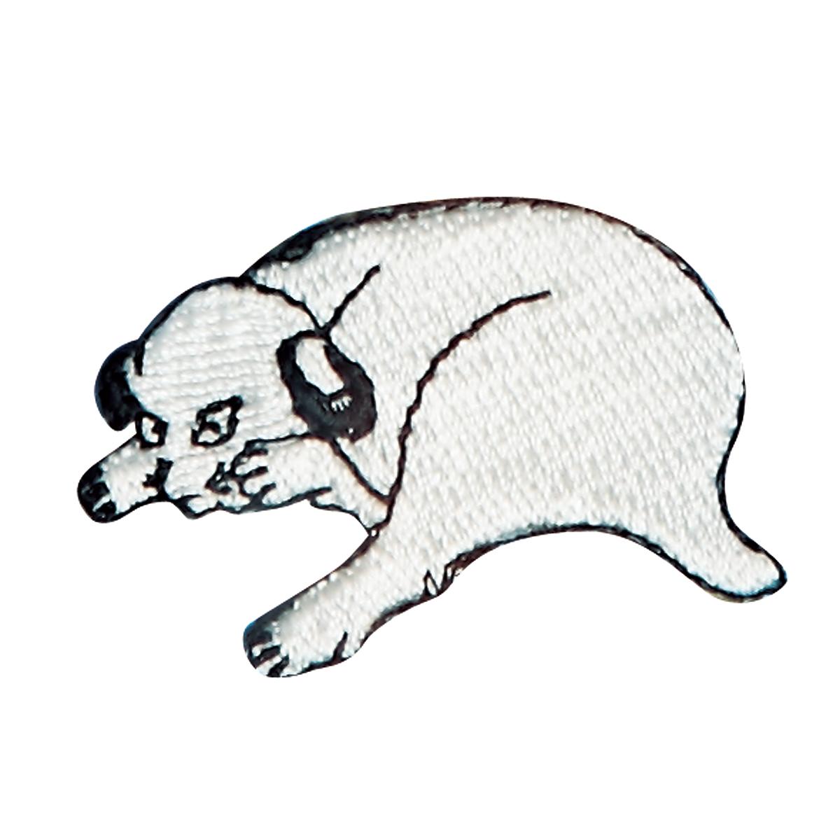 KHW-504/ワッペン/仔犬に箒図/【ゆうパケット可】
