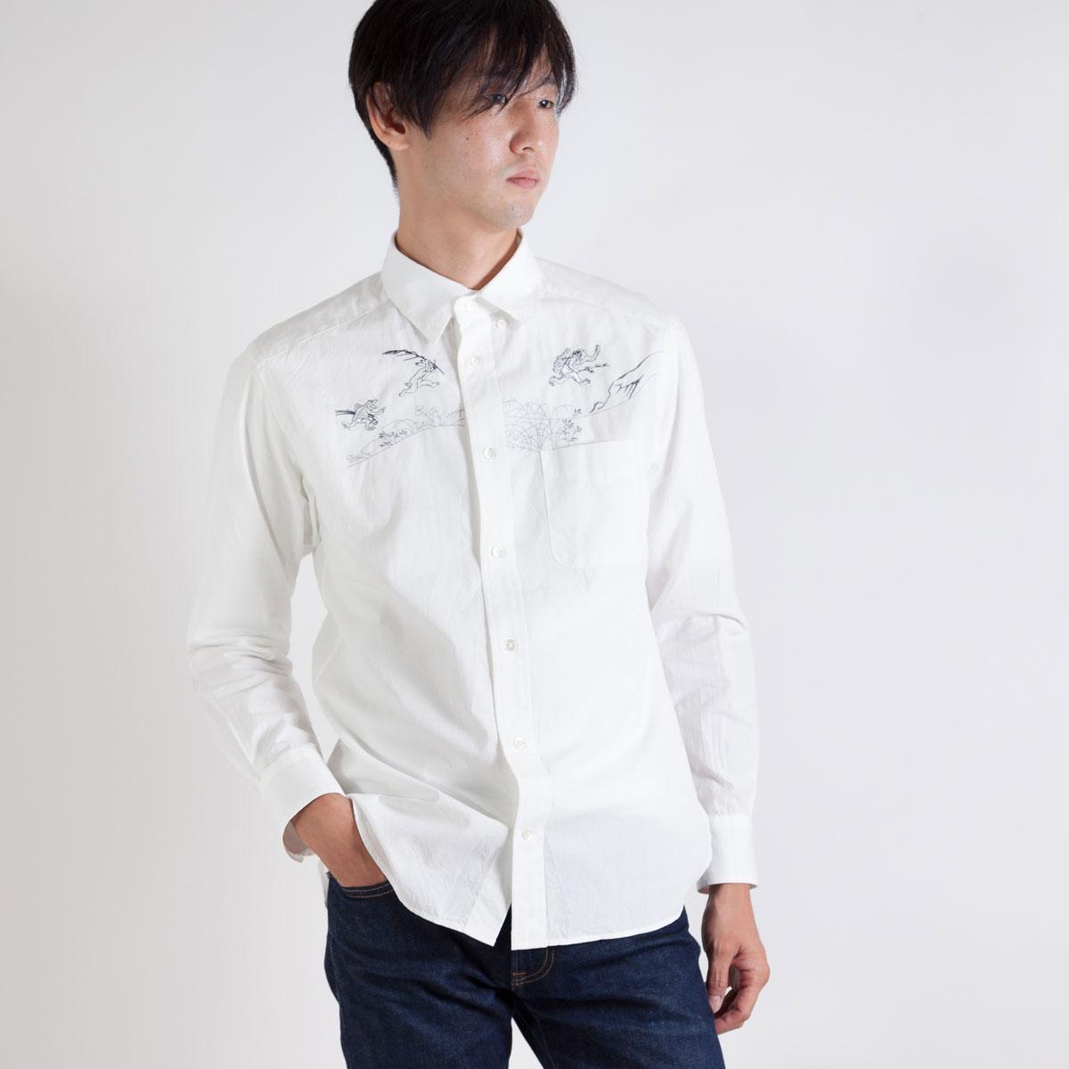 KY17-675M/メンズシャツ[播州織]/追われる猿