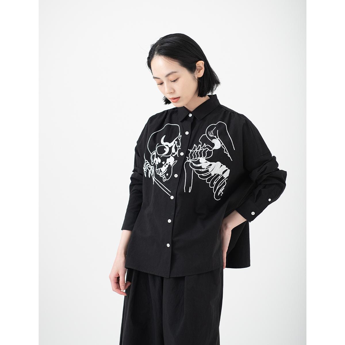 KY17-804AB/綿麻ワイドシャツ[播州織]/相馬の古内裏(黒)