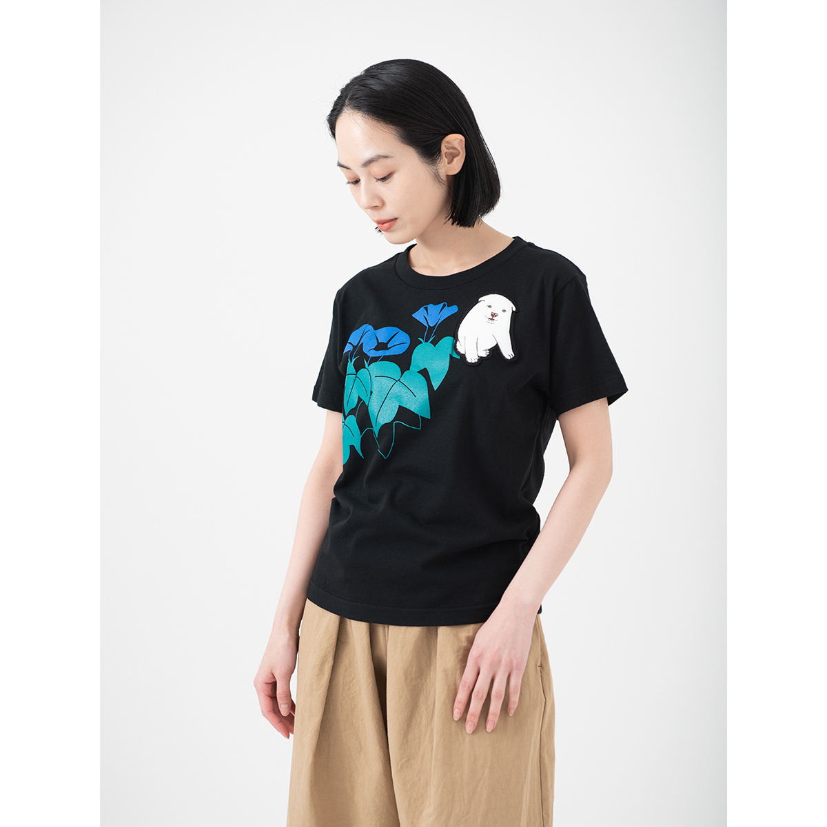 KY54-848/Tシャツ(黒)/しろ