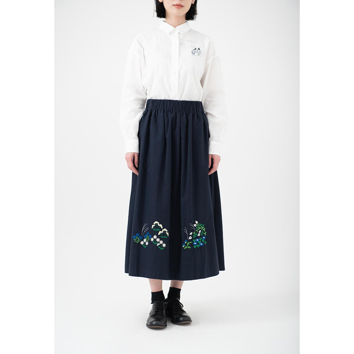 KY63-953C/スカート(紺)/琳派秋草(カラー)