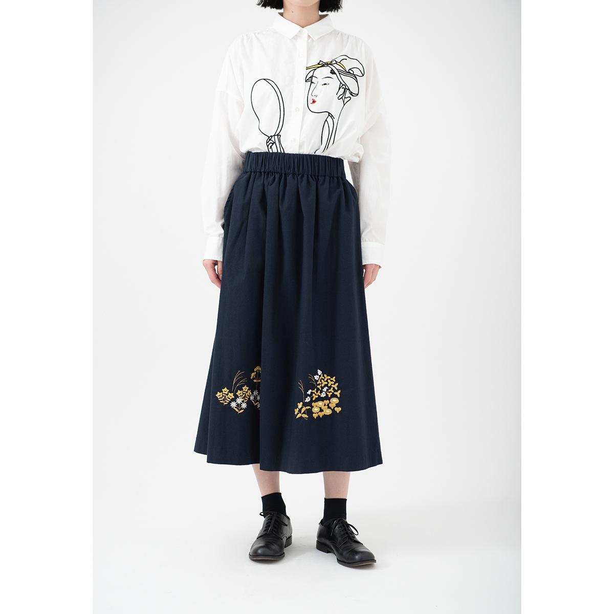 KY63-953G/スカート(紺)/琳派秋草(金)