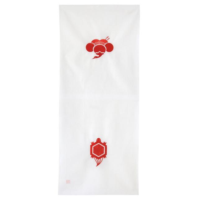 KY01-12W/手ぬぐい/鶴亀〈白〉/【5枚までゆうパケット可】