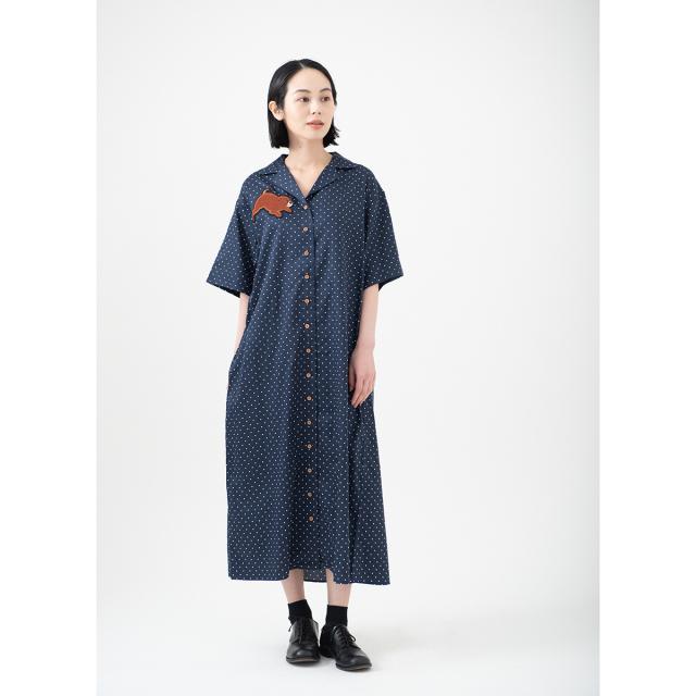 KY08-776/半袖ドットシャツワンピース(紺)/ころ