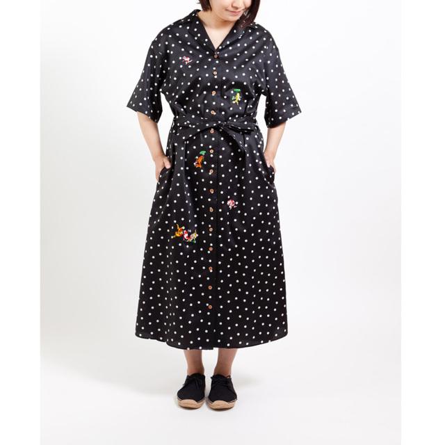 KY08-846/半袖ドットシャツワンピース/金魚づくし