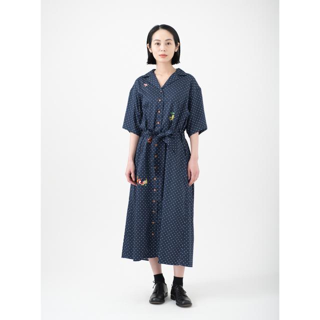 KY08-846A/半袖ドットシャツワンピース/金魚づくし(紺)