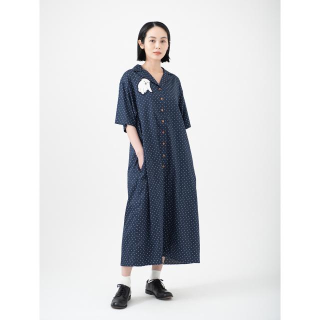 KY08-848/半袖ドットシャツワンピース(紺)/しろ