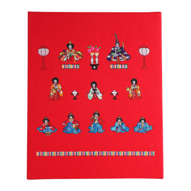 KY15-280/Fabric Panel/Three Rows Hina Dolls.